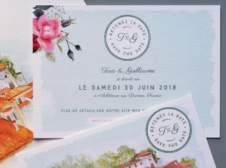 Carte d'invitation de mariage illustrée façon carte postale ancienne et sur mesure