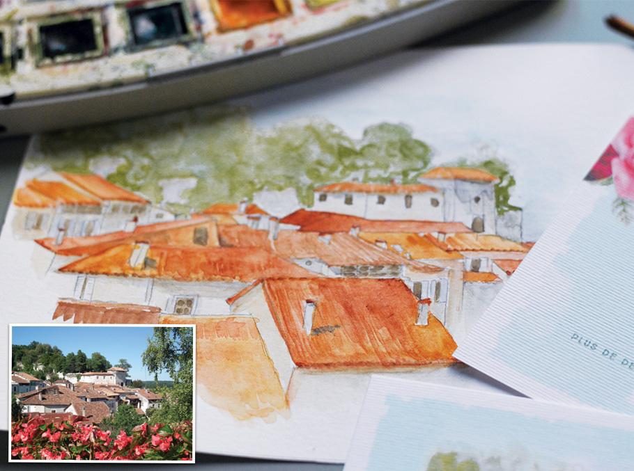 Illustration de village avec château à l'aquarelle pour invitation de mariage.