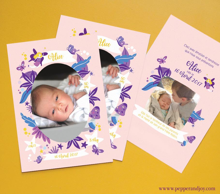 faire part naissance fée et papillon tons violet mauve et rose. photo de bébé Alice