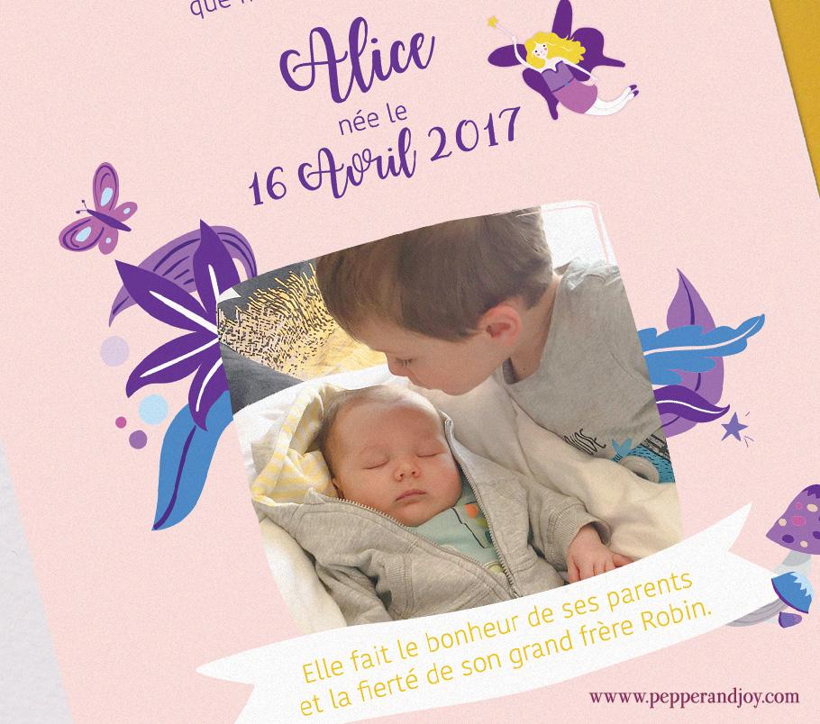 Faire part de naissance fille fée et papillon tons mauve violet avec photo du grand frère ou de la grande soeur