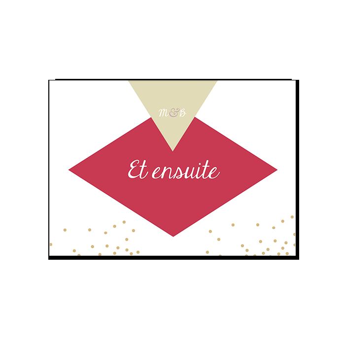 Carton repas mariage losanges et confettis, couleurs personnalisées