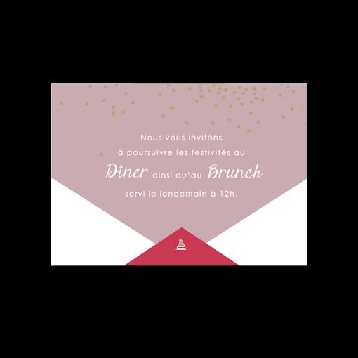 carton invitation repas de mariage losanges et confettis