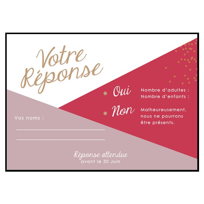 Carton réponse invitation mariage losanges, couleurs personnalisées