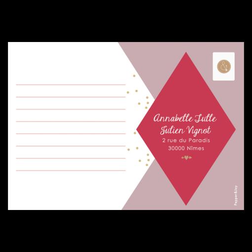 Carton réponse de mariage losanges et confettis