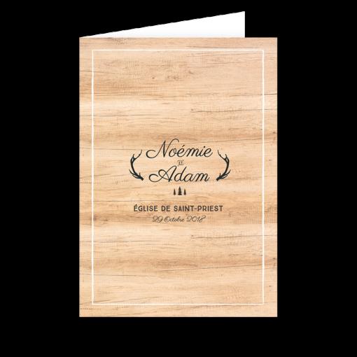 Couverture de livret de messe mariage fond bois. Forêt de sapins, bois de cerfs.