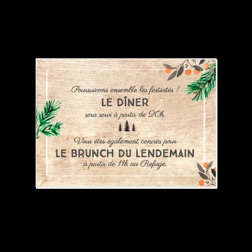 Carton d'invitation de mariage dans les Bois. Sapins et cerfs sur fond de bois. Invitation au brunch et diner.
