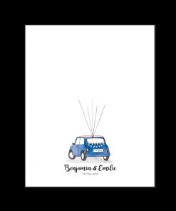 Mini Rover livre d'or mariage Poster, un souvenir et cadeau mariage unique original