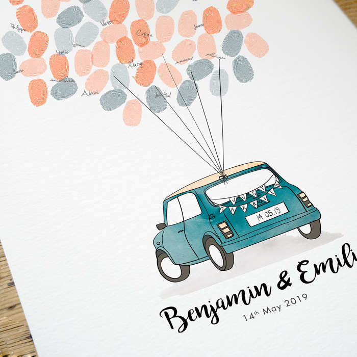 Livre d'or poster mariage, souvenir Mini rover personnalisable