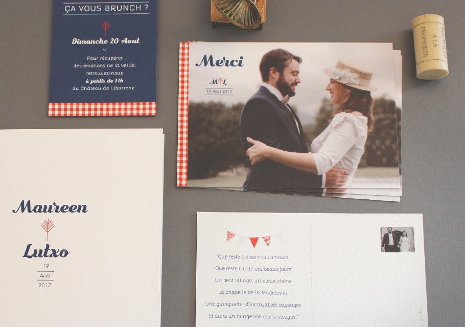 Carte de remerciement mariage photo style guinguette