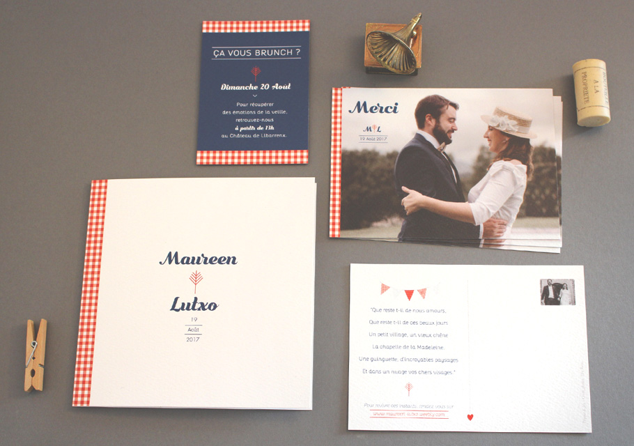 Invitation mariage pays basque, style guinguette chic