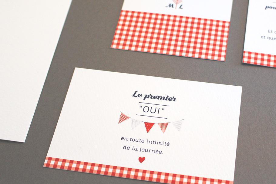 Invitation mariage guinguette, petit carton église avec carreau rouges vichy