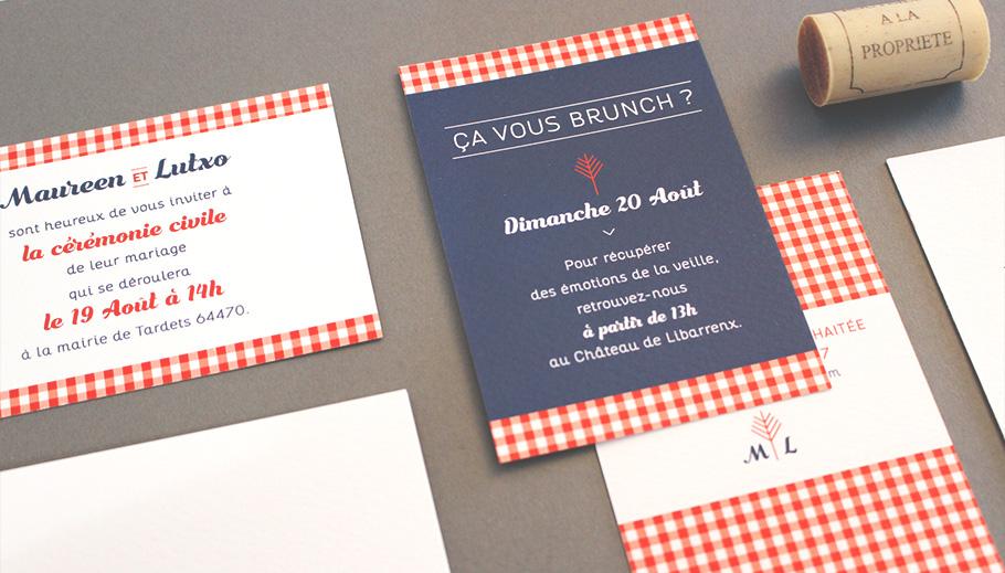Invitation brunch mariage, petit carton Ca vous brunch avec carreau rouges vichy