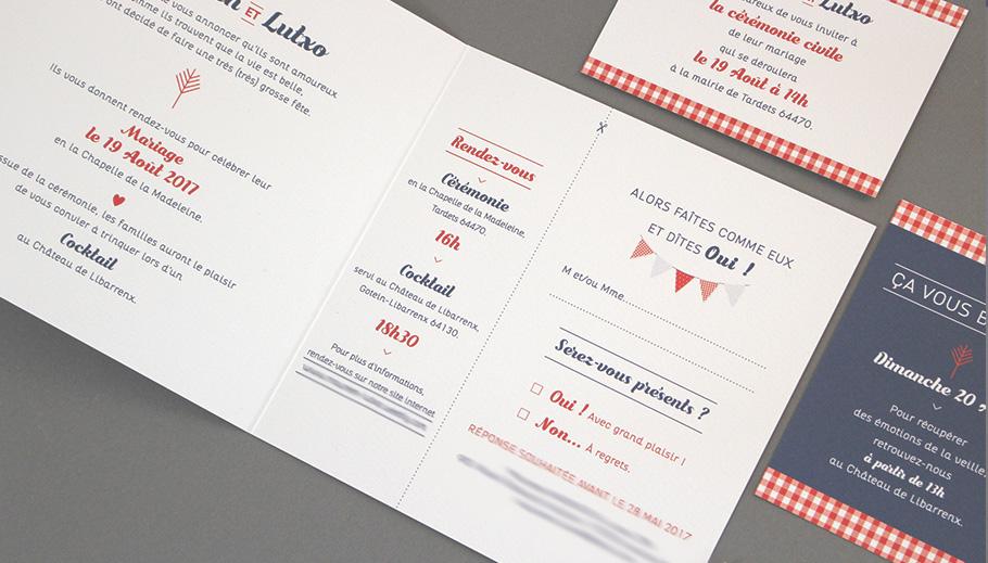 Faire-part mariage guinguette chic Pays basque coupon réponse à découper, fanions et guirlandes.