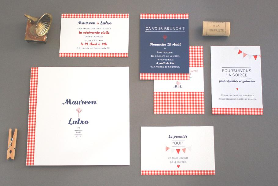 Faire-part de mariage guinguette chic Pays basque. Carton supplémentaires pour église et brunch.