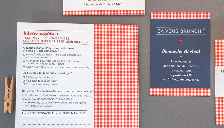 Invitation mariage guinguette chic, carreaux rouge vichy et questionnaire. Invitation au brunch ça vous brunch ?