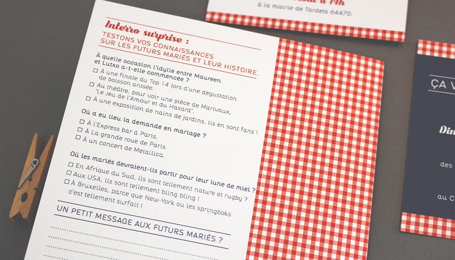 Faire-part mariage guinguette avec questionnaire jeu au dos de l'invitation.