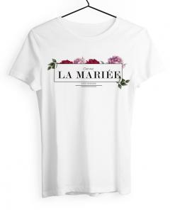 Tshirt d'enterrement de vie de jeune fill personnalisé. Design floral chic et élégant.