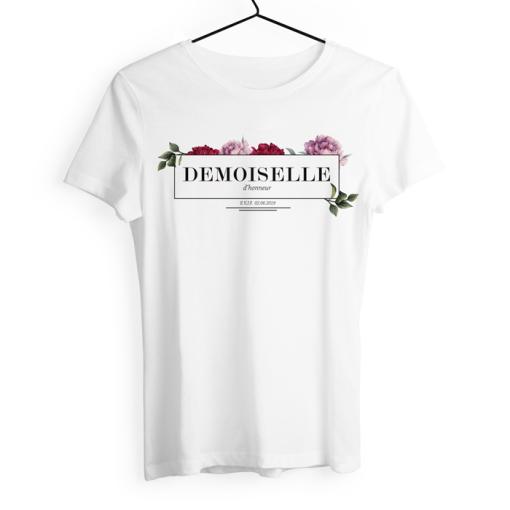 Tshirt EVJF demoiselle d'honneur, décor de fleurs. Texte à personnaliser.
