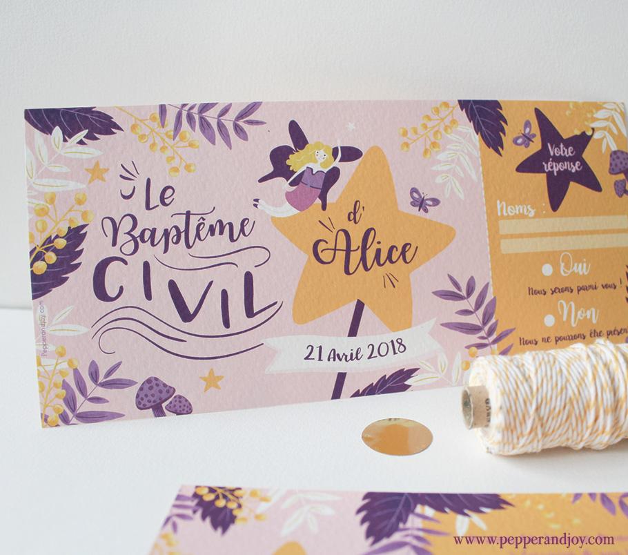 Invitation baptême civil Alice fille. Illustration de fée et fleurs rose poudré violet jaune