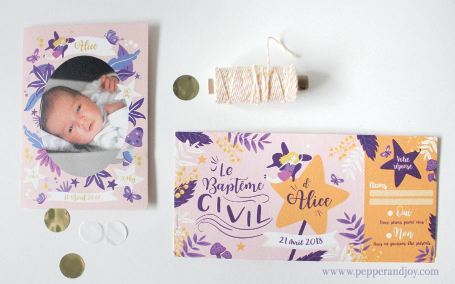 Faire-part baptême fille Alice, violet rose et jaune. Fleurs et fée avec photo de bébé