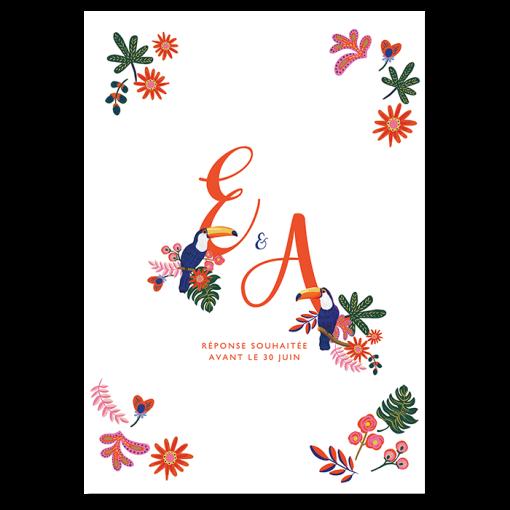 invitation mariage exotique chic toucan canopée feuilles tropique, mariage d'été