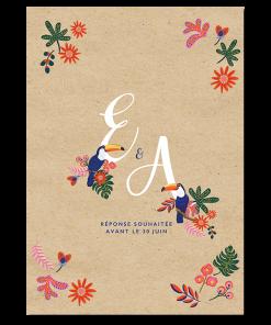 faire-part mariage toucan exotique chic. Fond papier kraft, couleurs du mexique et amérique latine.
