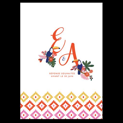Faire-part mariage toucan exotique chic. Invitation mariage tropical d'été avec motif ethnique.