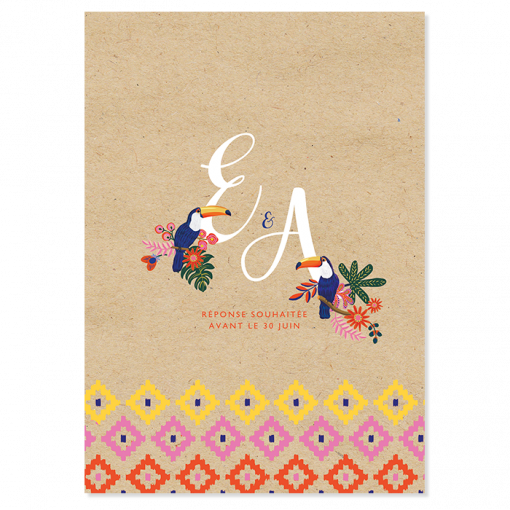 Invitation mariage exotique chic et bohème. Initiales avec toucans, fond papier kraft