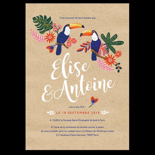 Invitation mariage exotique chic avec couple de toucans. Invitation au voyage, inspirations du mexique et amérique latine.