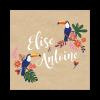Livret invitation mariage plié. Toucan et design exotique chic sur fond kraft.