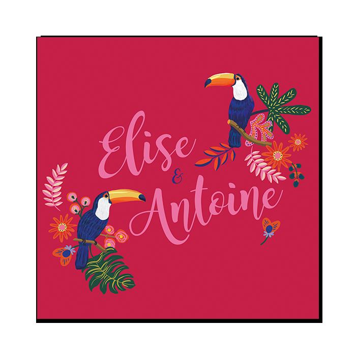 Faire-part mariage carré plié. Illustration toucans et feuillage exotique chic. Inspirations amérique latine et Mexique.