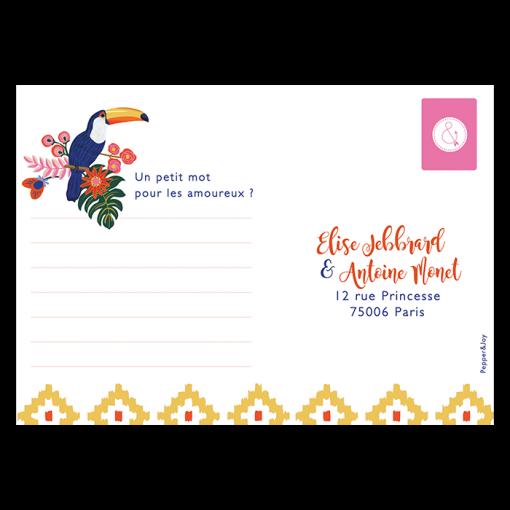 Carton réponse, coupon réponse de mariage Exotique chic. Motif Toucan et fleurs tropicales.