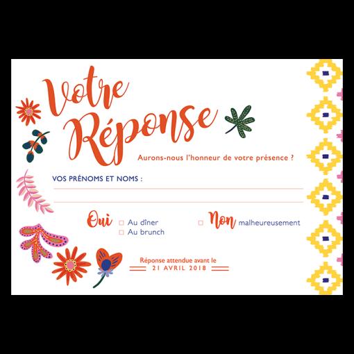 Carton réponse mariage Toucans exotique chic. Illustrations de fleurs tropicales et motifs évoquant le Mexique et la forêt amazonienne.