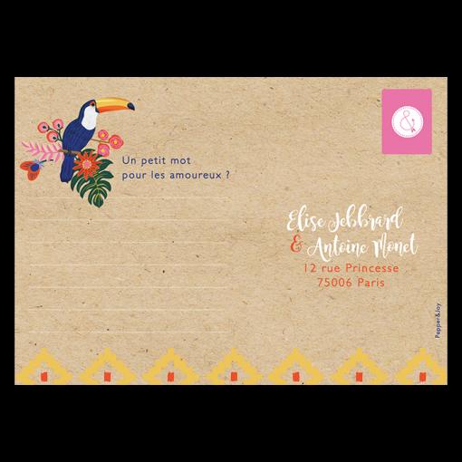 Carton réponse de mariage exotique chic sur fond kraft; motifs fleurs et Toucans. Inspiration ethnique et Amérique latine.