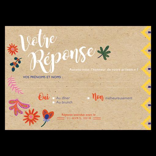 carton réponse de mariage exotique chic avec toucan et fleurs tropicales