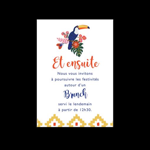 Invitation brunch mariage exotique chic, toucans et motif colorés