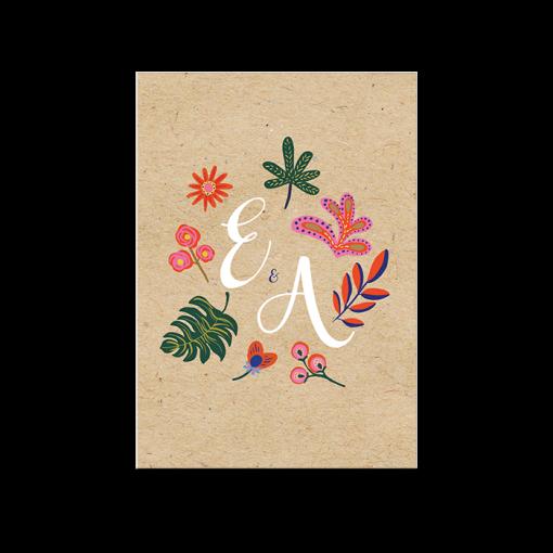 Invitation brunch mariage fond kraft. Fleurs couleurs vives avec initiales des mariés.