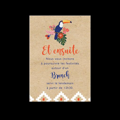 Petit carton invitation brunch mariage. Fond kraft et toucan. Invitation tropicale inspirations amérique latine