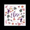 Faire-part naissance Elise thème floral exotique chic. Tendance ethnique.