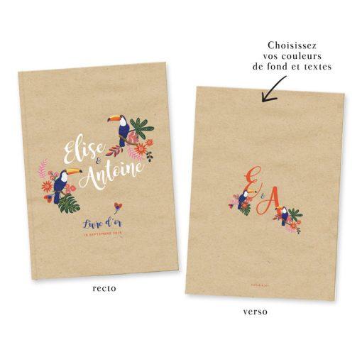 Livre d'or de mariage Exotique chic personnalisé. Motif toucan et fleurs.