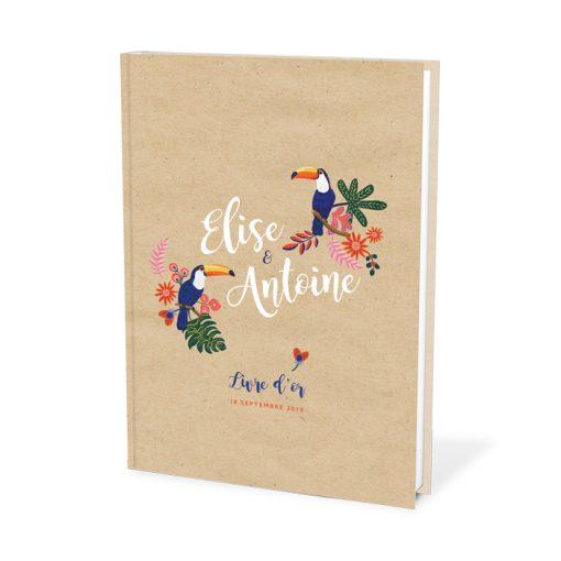 Livre d'or de mariage personnalisé exotique chic. Couple de toucan illustré pour décorer vos nom. Couverture rigide, format A4.