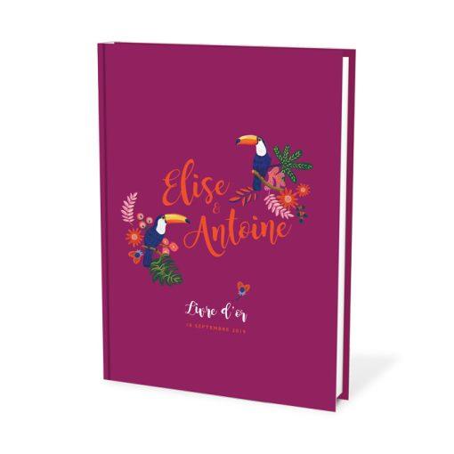 Livre d'or mariage violet prune. Exotique chic, pour mariage sur le thème des tropiques.