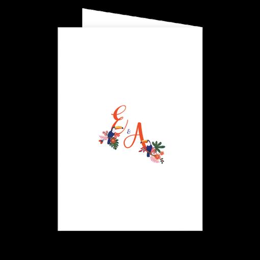 Livret de messe mariage exotique chic/ Motif toucan, couple d'oiseaux tropicaux et décor de fleurs