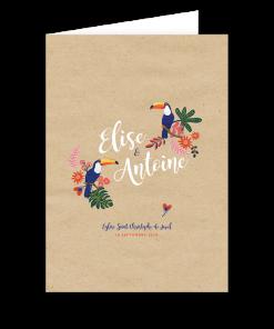 Livret de messe mariage exotique. Design original et coloré avec motif de toucan, oiseau des tropiques