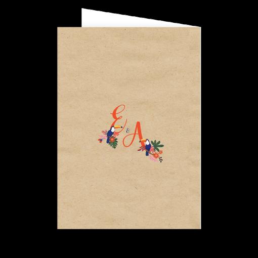 Livret de messe personnalisé, initiales des mariés au verso. Fleurs, oiseaux exotiques.
