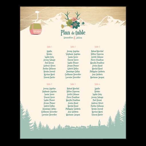 Plan de table mariage montagne personnalisé. Affiche avec forêt et télécabine. Ski et fleurs. Bois de cerf