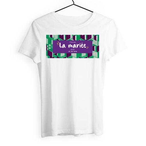 Tshirt enterrement vie de jeune fille personnalisé. motif wax vert et violet. Couleurs vive. Design original et moderne.