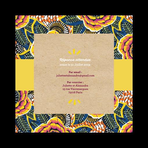 invitation mariage ethnique exotique Wax. Livret 4 pages carré. Inspiration Afrique