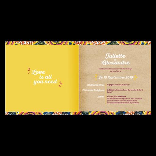 Faire-part mariage texte invitation mariage exotique et ethnique. Motif wax et fond kraft.