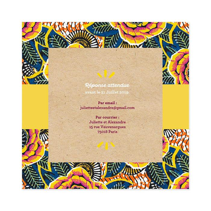 Faire Part De Mariage Ethnique Chic Wax Dafrique